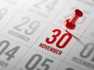 Calendar 30th November 2020