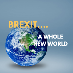 world globe with text brexit